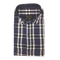 Parkson - Ble01Blue - Casual Semi Formal Checks Shirts Premium Blended Cotton WRINKLE FREE