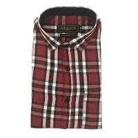 Parkson - Ble01Red - Casual Semi Formal Checks Shirts Premium Blended Cotton WRINKLE FREE