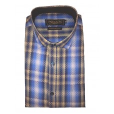 Parkson - Ble02Blue - Casual Semi Formal Checks Shirts Premium Blended Cotton WRINKLE FREE