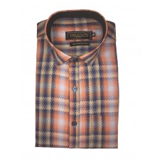 Parkson - Ble02Orange - Casual Semi Formal Checks Shirts Premium Blended Cotton WRINKLE FREE