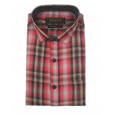 Parkson - Ble02Red - Casual Semi Formal Checks Shirts Premium Blended Cotton WRINKLE FREE