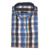 Parkson - Ble03Blue - Casual Semi Formal Checks Shirts Premium Blended Cotton WRINKLE FREE