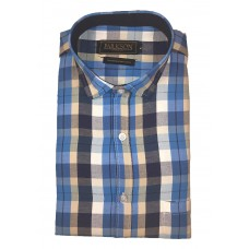Parkson - Ble03Blue - Casual Semi Formal Checks Shirts Premium Blended Cotton WRINKLE FREE