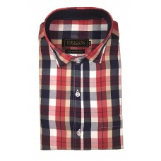 Parkson - Ble03Red - Casual Semi Formal Checks Shirts Premium Blended Cotton WRINKLE FREE