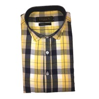 Parkson - Ble03Yellow - Casual Semi Formal Checks Shirts Premium Blended Cotton WRINKLE FREE