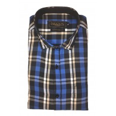 Parkson - Ble04Blue - Casual Semi Formal Checks Shirts Premium Blended Cotton WRINKLE FREE