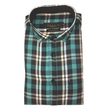 Parkson - Ble04Green - Casual Semi Formal Checks Shirts Premium Blended Cotton WRINKLE FREE
