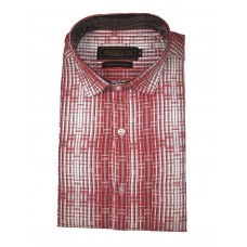 Parkson - Ble05Red - Casual Semi Formal Checks Shirts Premium Blended Cotton WRINKLE FREE