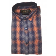 Parkson - Ble06Orange - Casual Semi Formal Checks Shirts Premium Blended Cotton WRINKLE FREE