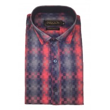 Parkson - Ble06Red - Casual Semi Formal Checks Shirts Premium Blended Cotton WRINKLE FREE