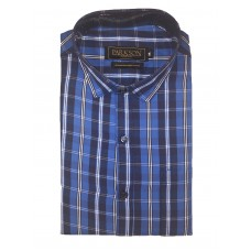 Parkson - Ble07Blue - Casual Semi Formal Checks Shirts Premium Blended Cotton WRINKLE FREE