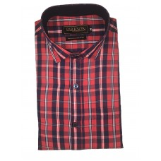 Parkson - Ble07Red - Casual Semi Formal Checks Shirts Premium Blended Cotton WRINKLE FREE