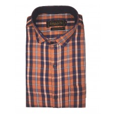 Parkson - Ble07Rust - Casual Semi Formal Checks Shirts Premium Blended Cotton WRINKLE FREE