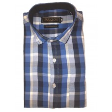 Parkson - Ble08Blue - Casual Semi Formal Checks Shirts Premium Blended Cotton WRINKLE FREE