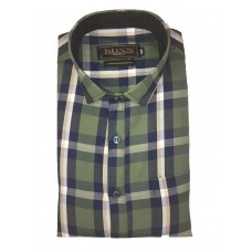 Parkson - Ble08Green - Casual Semi Formal Checks Shirts Premium Blended Cotton WRINKLE FREE