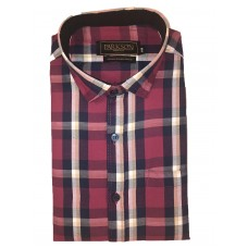 Parkson - Ble08Red - Casual Semi Formal Checks Shirts Premium Blended Cotton WRINKLE FREE
