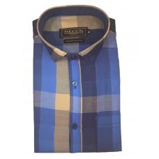 Parkson - Ble09Blue - Casual Semi Formal Checks Shirts Premium Blended Cotton WRINKLE FREE