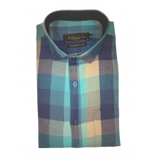 Parkson - Ble09Green - Casual Semi Formal Checks Shirts Premium Blended Cotton WRINKLE FREE