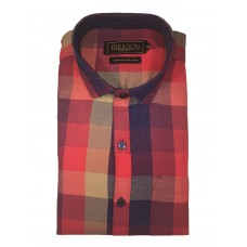 Parkson - Ble09Red - Casual Semi Formal Checks Shirts Premium Blended Cotton WRINKLE FREE