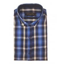 Parkson - Ble10Blue - Casual Semi Formal Checks Shirts Premium Blended Cotton WRINKLE FREE