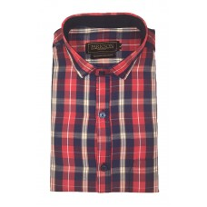 Parkson - Ble10Red - Casual Semi Formal Checks Shirts Premium Blended Cotton WRINKLE FREE