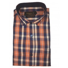 Parkson - Ble10Rust - Casual Semi Formal Checks Shirts Premium Blended Cotton WRINKLE FREE