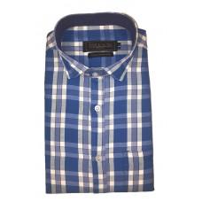Parkson - Ble11Blue - Casual Semi Formal Checks Shirts Premium Blended Cotton WRINKLE FREE