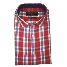 Parkson - Ble11Red - Casual Semi Formal Checks Shirts Premium Blended Cotton WRINKLE FREE