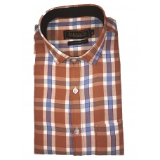 Parkson - Ble11Rust - Casual Semi Formal Checks Shirts Premium Blended Cotton WRINKLE FREE