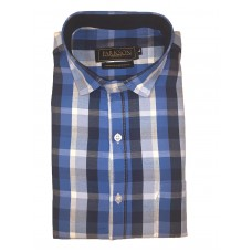 Parkson - Ble12Blue - Casual Semi Formal Checks Shirts Premium Blended Cotton WRINKLE FREE