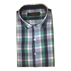 Parkson - Ble12Green - Casual Semi Formal Checks Shirts Premium Blended Cotton WRINKLE FREE