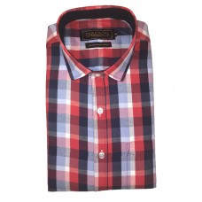 Parkson - Ble12Red - Casual Semi Formal Checks Shirts Premium Blended Cotton WRINKLE FREE