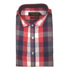 Parkson - Ble13Red - Casual Semi Formal Checks Shirts Premium Blended Cotton WRINKLE FREE