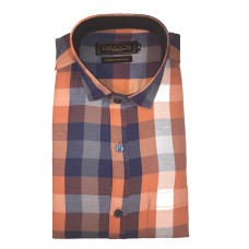 Parkson - Ble13Rust - Casual Semi Formal Checks Shirts Premium Blended Cotton WRINKLE FREE