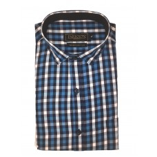 Parkson - Ble14Blue - Casual Semi Formal Checks Shirts Premium Blended Cotton WRINKLE FREE