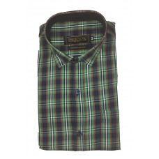Parkson - Ble16Green - Casual Semi Formal Checks Shirts Premium Blended Cotton WRINKLE FREE