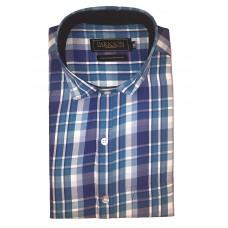 Parkson - Ble17Blue - Casual Semi Formal Checks Shirts Premium Blended Cotton WRINKLE FREE