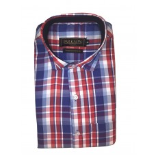 Parkson - Ble17Red - Casual Semi Formal Checks Shirts Premium Blended Cotton WRINKLE FREE