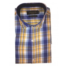 Parkson - Ble17Yellow - Casual Semi Formal Checks Shirts Premium Blended Cotton WRINKLE FREE