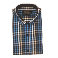 Parkson - Ble18Blue - Casual Semi Formal Checks Shirts Premium Blended Cotton WRINKLE FREE