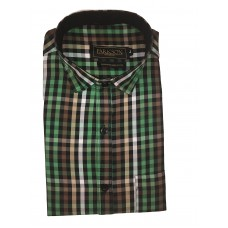 Parkson - Ble18Green - Casual Semi Formal Checks Shirts Premium Blended Cotton WRINKLE FREE