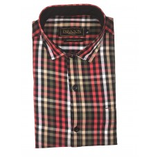 Parkson - Ble18Red - Casual Semi Formal Checks Shirts Premium Blended Cotton WRINKLE FREE