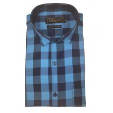 Parkson - Ble19Blue - Casual Semi Formal Checks Shirts Premium Blended Cotton WRINKLE FREE