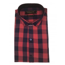 Parkson - Ble19Red - Casual Semi Formal Checks Shirts Premium Blended Cotton WRINKLE FREE