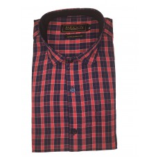 Parkson - Ble20Red - Casual Semi Formal Checks Shirts Premium Blended Cotton WRINKLE FREE