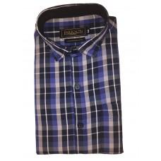 Parkson - Ble21Blue - Casual Semi Formal Checks Shirts Premium Blended Cotton WRINKLE FREE