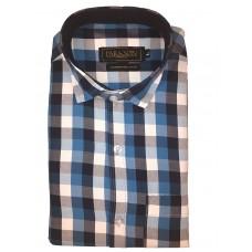 Parkson - Ble23Blue - Casual Semi Formal Checks Shirts Premium Blended Cotton WRINKLE FREE