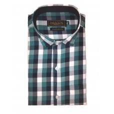 Parkson - Ble23Green - Casual Semi Formal Checks Shirts Premium Blended Cotton WRINKLE FREE