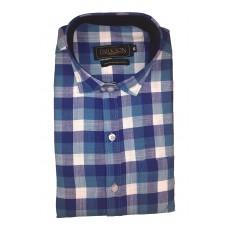 Parkson - Ble24Blue - Casual Semi Formal Checks Shirts Premium Blended Cotton WRINKLE FREE