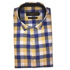 Parkson - Ble24Yellow - Casual Semi Formal Checks Shirts Premium Blended Cotton WRINKLE FREE